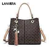 Lanvera Purse Tote Bags,PVC Leather Top Handle Handbags for women,Large Shoulder Crossbody Messenager Satchel (Beige)