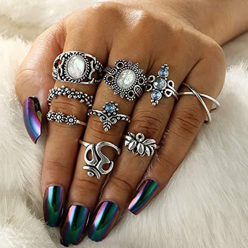 PAPPET Opal Knuckle Ring 8Pcs/Set Vintage Opal Knuckle Midi Finger Rings Set for Women Boho Geometric Pattern Flower Rings Party Bohemian Jewelry