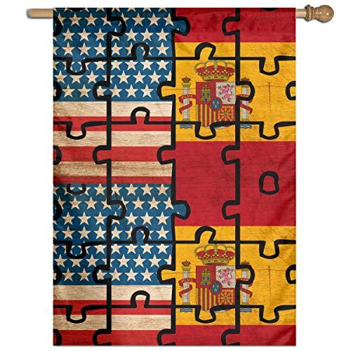 MKLNHBGFCH37 Vintage USA Spain Flag Puzzle Welcome Garden Flag Yard Flag Family Flag 27