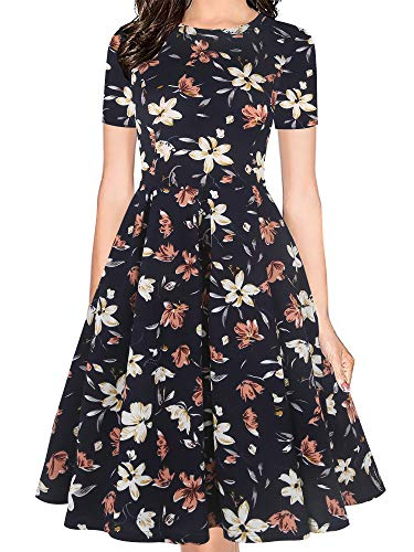 oxiuly Women's Vintage Half Sleeve O-Neck Contrast Casual Pockets Party Swing Dress OX253 (M, NBOWF)