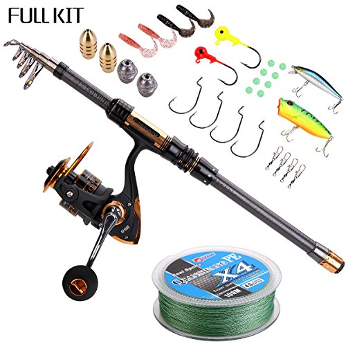 Supertrip Spin Spinning Rod and Reel Combos Carbon Telescopic Fishing Rod with Reel Combo Sea Saltwater Freshwater Kit Fishing Rod Kit 2.1M 6.9ft Fishing Full Kit