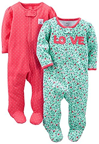 Simple Joys by Carter's Girls' 2-Pack Cotton Footed Sleep and Play, Love/Pink Dots, 6-9 Months - Girls Pink Sleeper