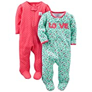 Simple Joys by Carter's Baby Girls' 2-Pack Cotton Footed Sleep and Play, Love/Pink Dots, 0-3 Months