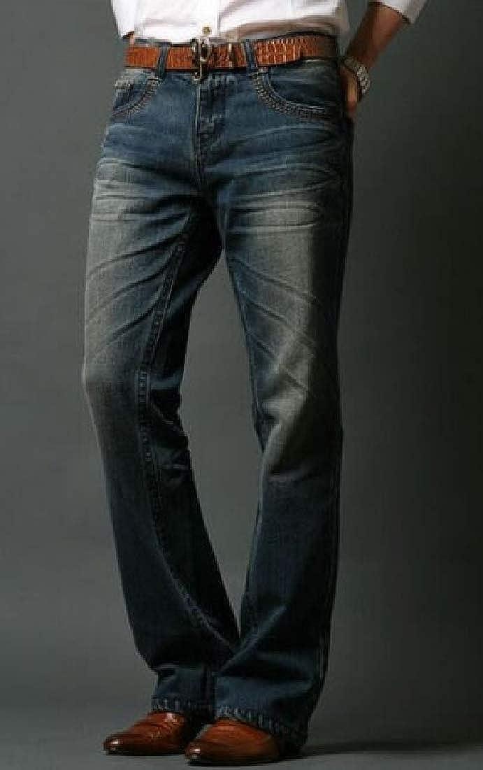 BYWX Men Retro Washed Fashion Slim Fit Jeans Denim Pants