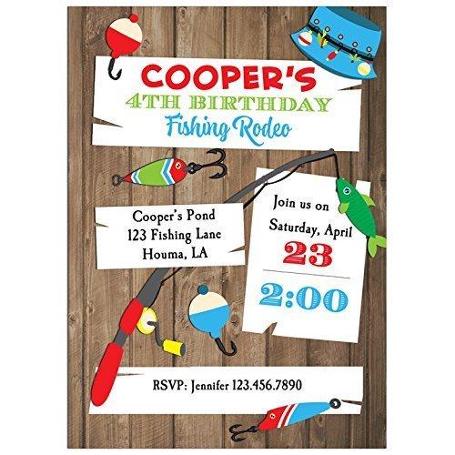Fishing Hooks Invitations with ANY Wording Printed or Printable - Fishing hook, fishing, Boy's Birthday Invitation]()