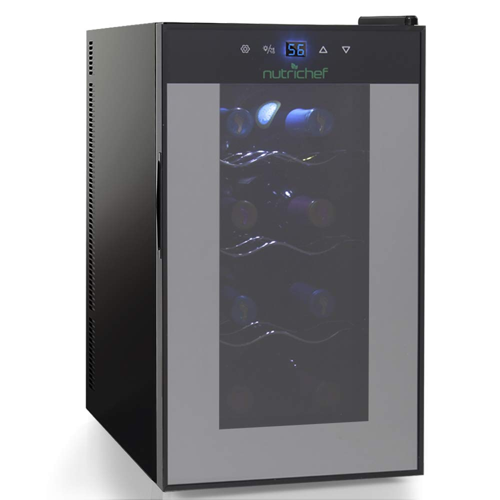 Nutrichef Thermoelectric 8 Bottle Wine Cooler Refrigerator | Red, White, Champagne Chiller | Counter Top Wine Cellar | Quiet Operation Fridge | Touch Temperature Control
