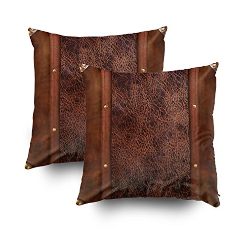 Capsceoll 2PCS Western Dark Brown Design Throw Pillow Case 16X16Inch,Home Decoration Pillowcase Zippered Pillow Covers Cushion Cover with Words for Book Lover Worm Sofa Couch -