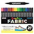 Super Markers 20 Unique Colors Dual Tip Fabric T Shirt Marker Set Double Ended Fabric Markers With Chisel Point And Fine Point Tips 20 Permanent Ink Vibrant And Bold Colors