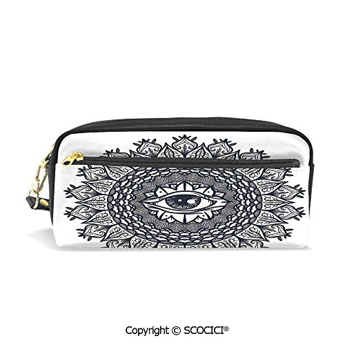 (Students PU Pencil Case Pouch Women Purse Wallet Bag Vintage Circular Occult Pattern Knowledge of The Hidden Third Eye Providence Symbol Waterproof Large Capacity Hand Mini Cosmetic Makeup Bag)