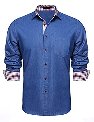 Men's Casual Button Down Dress Shirts Long Sleeve Cotton Collar Shirts