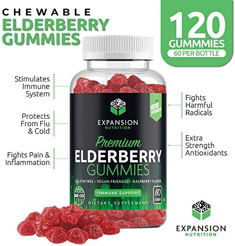 2 Pack 120 Gummies Sambucus Organic Elderberry Gummies for Adults Kids Immune Gummy with Vitamin C, Propolis Echinacea Immune System Booster Herbal Supplement