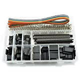 HJ Garden 635pcs 2.54mm Dupont Jumper Header Connector Kit Female/Male Pin Housing PCB Pin Header 5-Feet 10-Wire Rainbow Color Flat Ribbon IDC Cable