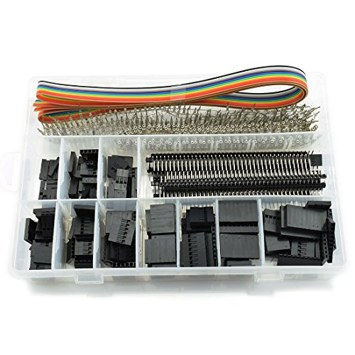 HJ Garden 635pcs 2.54mm Dupont Jumper Header Connector Kit Female/Male Pin Housing PCB Pin Header 5-Feet 10-Wire Rainbow Color Flat Ribbon IDC Cable ()