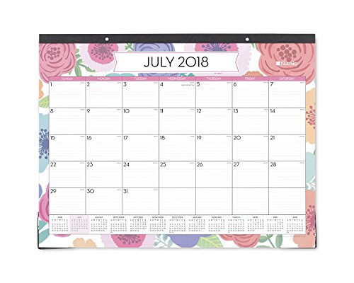 Blue Sky 2018-2019 Academic Year Monthly Desk Pad Calendar, Ruled Blocks, 22