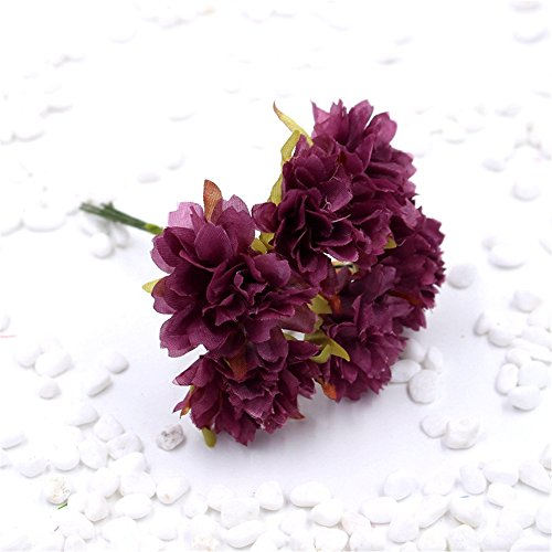 30pcs/lot 4cm Silk Daisy Artificial Flower For Wedding Decoration Chrysanthemum DIY party festival Home Decor Gift Scrapbooking Simulation Flower (dark (Dahlia Plum)
