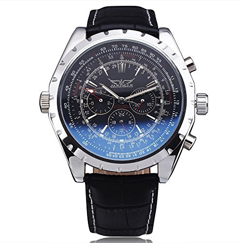 JARAGAR Fashion Luxury Brand Mechanical Watches Men Coated Glass Automatic Calendar Hour Week Dial Leather Strap - Glasses Luxury Brands