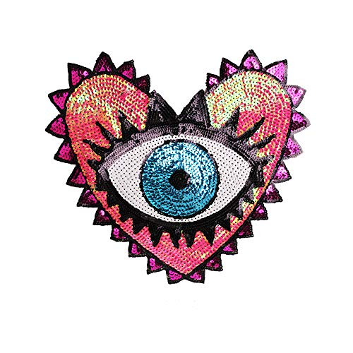 (Large Heart Eye Sequins Patch Heart Eye Sew on Patches Embroidered Badge Motif Applique Compatible Clothing Jeans T-Shirt (Pink))