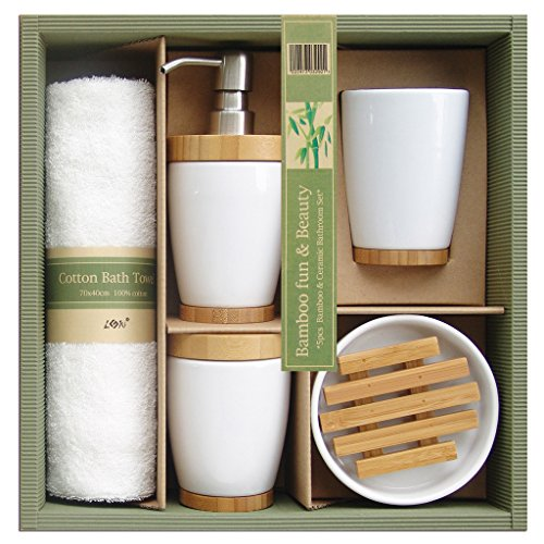 Cheap laroom 13854 Bathroom Set – Ceramic and Bamboo 4 Pieces and Cotton Cloth, White, Brown