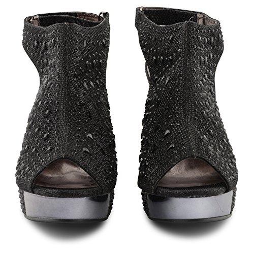 Peep Sensation negro Toe Negro mujer Plataforma Sandalias Footwear AwZzxpqSn