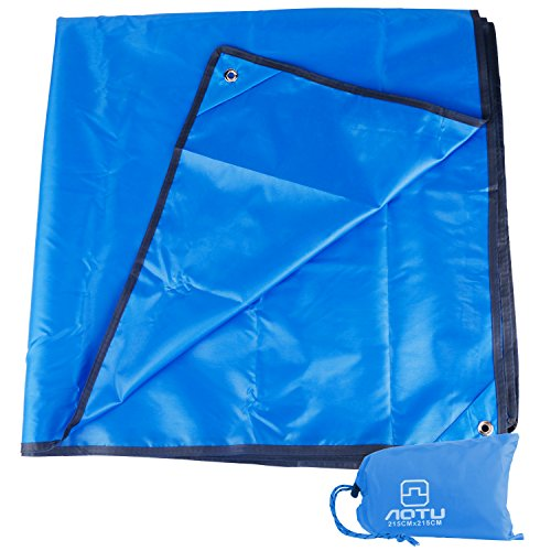 Htwon Camping Tarp, 7 x 7 FT Oxford Waterproof Hammock Tarp Picnic & Beach Mat Mutifunctional Ground Cover Tent Footprint Shelter Drawstring Carrying Bag Hiking, Sunshade (Blue)