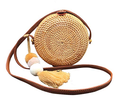 Straw Rattan Bag | Round Crossbody Purse - Circle Hand Woven Handbag Clutch (PU Leather - Woven Handbag Clutch