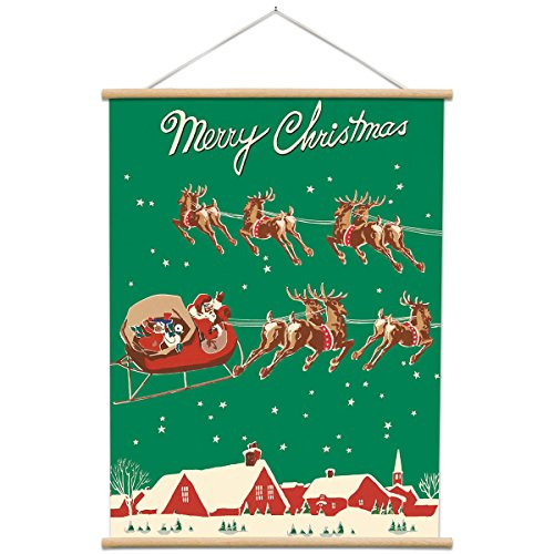 Christmas Poster with Hanger Kit Santas Sleigh Vintage Style 20 x 28