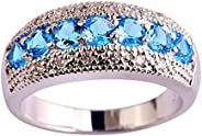 Veunora Jewelry 925 Sterling Silver Plated Exquisite Blue Topaz Gemstone Ring for Women