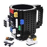 Kyonne Creative DIY Build-on Brick Mug, Lego Style Coffee Mugs, Birthday Gift Toy Cup for Men, Boy and Girl (black)