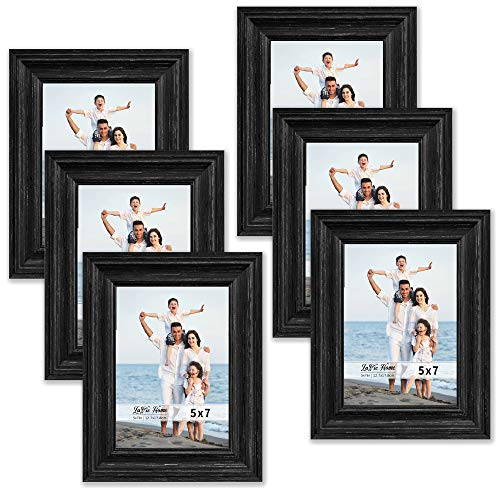 LaVie Home 5x7 Black Picture Frames (6 Pack, Imitated Wood ) Rustic Photo Frame Set with High Definition Glass for Wall Mount & Table Top Display