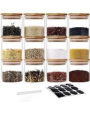 GoMaihe zestaw 12 pojemników na przyprawy, hermetyczne, szklane pojemniki z pokrywką, zestaw pojemników do przechowywania żywności i herbaty, 12 x 150 ml.