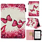 Kindle Paperwhite Case, Auto Sleep/Wake [Painted Leather] Flip Case Cover Folding Case Premium for Amazon Kindle Paperwhite (Fits all 2011,2012, 2013,2018 Versions)-Red butterfly
