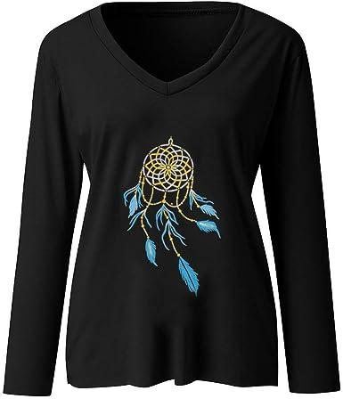 Sayla Camisetas De Manga Larga para Mujer OtoñO Invierno Tops Blusas Casual Sexy Moda ImpresióN De Cazador De SueñOs Tallas Grandes Elegante Cuello V T-Shirt Camisa TúNica Tops: Amazon.es: Ropa y accesorios