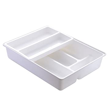 Romote Kitchen Drawer Dividers Cutlery Tray,Sliding 2-Tier Plastic Drawer Organizer for Utensils