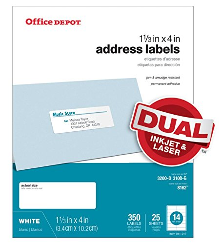 Office Depot White Inkjet/Laser Address Labels, 1 1/3in. x 4in, Pack of 350, 505-O004-0018