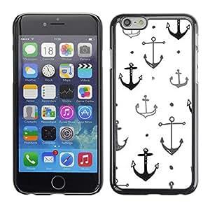 Caucho caso de Shell duro de la cubierta de accesorios de protección BY RAYDREAMMM - Apple iPhone 6 Plus 5.5 - Boat Ship Captain Anchor White Clean