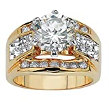 yellow engagement rings - Round White Cubic Zirconia and Crystal Accent 14k Yellow Gold-Plated Engagement Ring Size 12