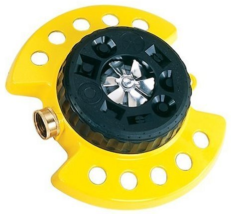 Dramm ColorStorm 9-Pattern Premium Turret Sprinkler With Heavy Duty Metal Base - Yellow #15023 by Dramm
