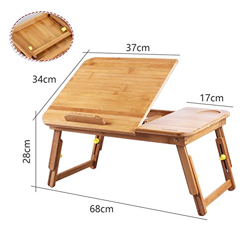 PENGFEI Portable Standing Desk Solid Wood Multifunction Collapsible Laptop Stand Reading Bookshelf Height Adjustable Mobile College Students Bamboo Wood Color, 2 Size (Color : Medium Normal) by PENGFEI-xiaozhuozi (Image #1)