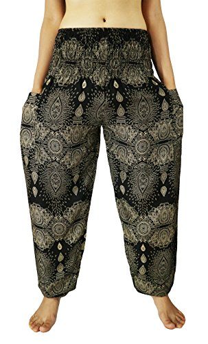 [Lovely Creations Women's Rayon Smocked Waist 21-38 Inchs Fine Art Print Hippie Baggy Boho Harem Pants with 2 Pockets US Size 0-18W (SJ] (North Indian Dance Costumes)