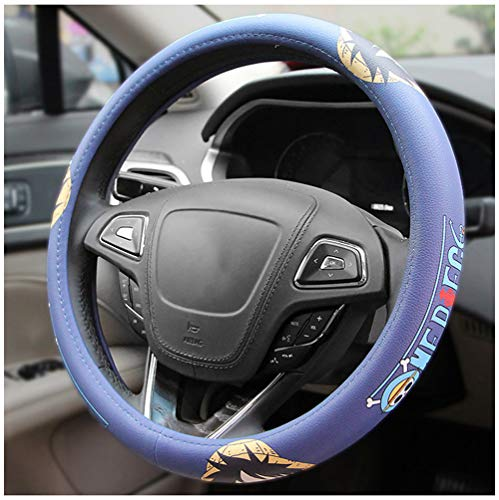 Steering Wheel Cover, One Piece Cartoon Car Handle Car Leather Four Seasons Universal
