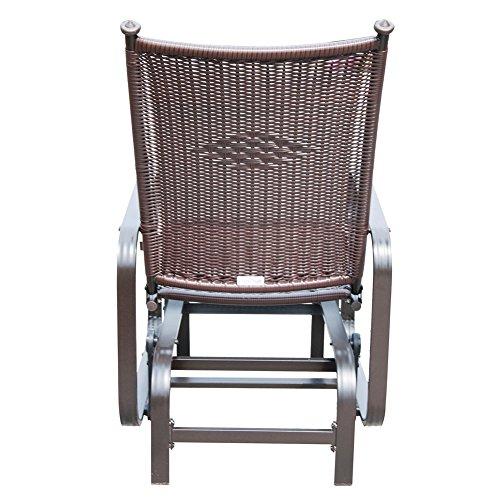 Outdoor Wicker Glider Sofa: PatioPost Outdoor PE Wicker Rattan Patio Glider Chair
