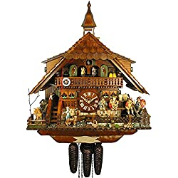 German Cuckoo Clock 8-day-movement Chalet-Style 23.00 inch - Authentic black forest cuckoo clock by August Schwer