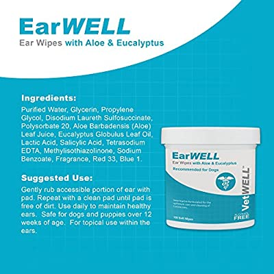 Dog Ear Wipes - Otic Cleaning Wipes for Infections and Controlling Yeast, Mites and Odor in Pets - EarWELL by VetWELL - 100 Count