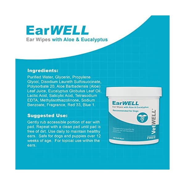 VetWELL Dog Ear Wipes - Otic Cleaning Wipes for Infections and Controlling Yeast, Mites and Odor in Pets - EarWELL 100 Count 2