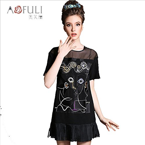Summer wear new dress large size women's clothing embroidery pleated organza dress wholesale (3XL) by mogreay