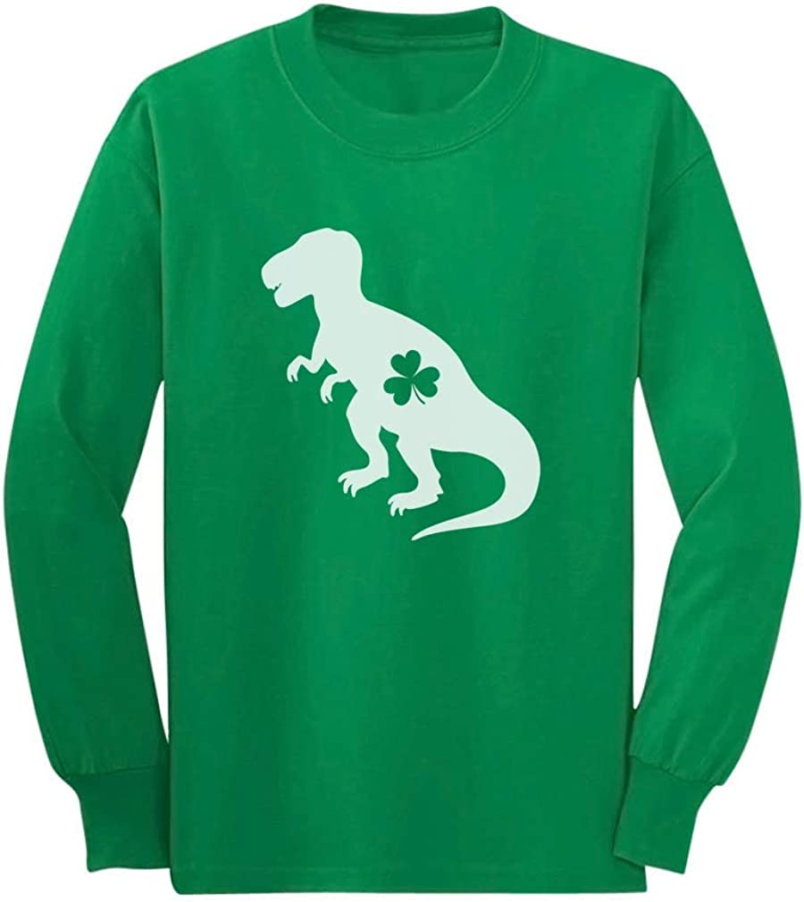 Patricks Day Toddler//Kids Long Sleeve T-Shirt 5//6 Green Irish T-Rex Dinosaur Clover St