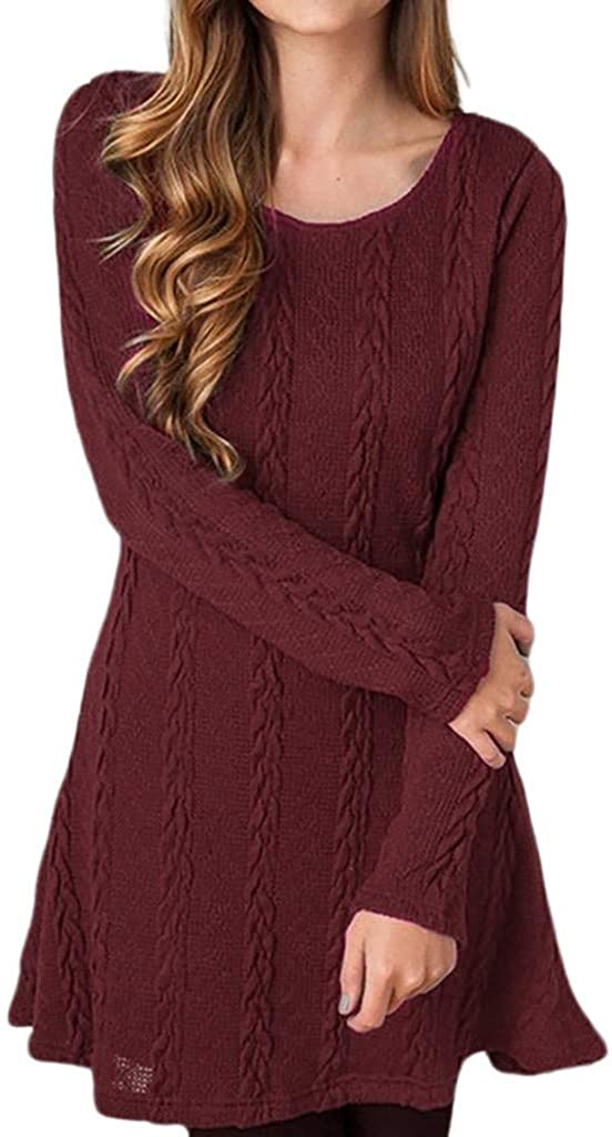 Dermanony Womens Solid Color Knitted Dress Fashion Crew Neck Long Sleeve Tight Sweater Mini Dress Plus Size Casual Dress