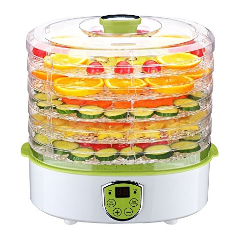 PowCube HKHL1H2 Dehydrator Fruit Dryer Machine Electric 5 Tier Food Preserver with Adjustable Temperature & Digital Timer, 304251283mm, White