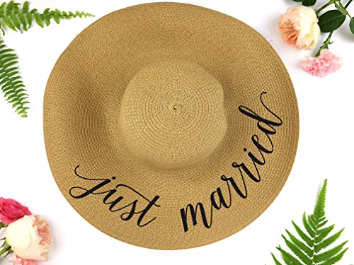 Just Married Honeymoon Beach Floppy Hat c9be7dfec69