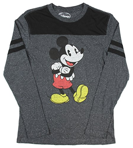 Disney Shirts For Adults (Mickey Mouse Retro Vitange Licensed Charcoal Speckle Long Sleeve T Shirt)